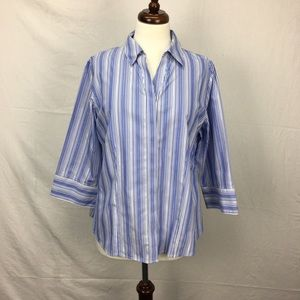 Chico's Blue Striped Button Down Shirt